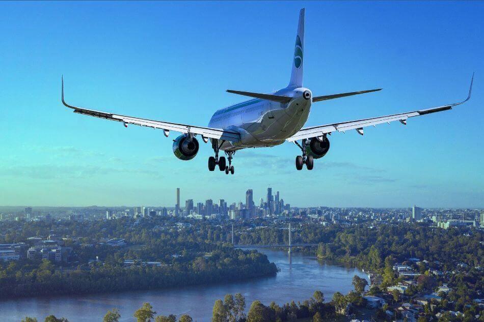 Een landend vliegtuig