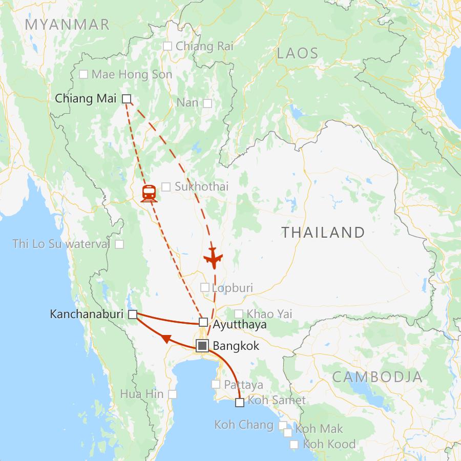 Met deze route ontdek je de hoogtepunten van Centraal- en Noord-Thailand in 2 weken.