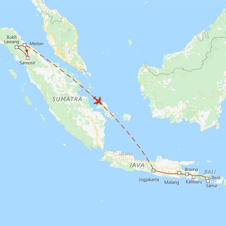 Routekaart klassieke rondreis Indonesie